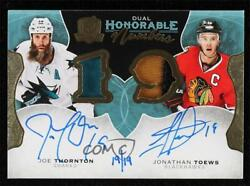 2016 The Cup Honorable Numbers /19 Joe Thornton Jonathan Toews Dual Patch Auto
