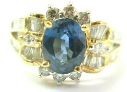 Oval Sapphire And Baguette Diamond Ring 18kt Solid Yellow Gold 2.48ct F-vs2