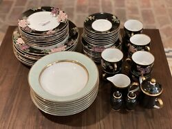 Eight Fitz And Floyd Cloisonne Peony Black 6-pc Place Setting Mint Condition