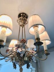Vintage Italian Cherub Set Of Lamps One Ceiling Lamp And Two Wall Lamps