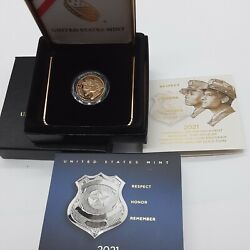 2021 W National Law Enforcement 5.00 Gold Proof Coin Us Mint Govt Packaging New