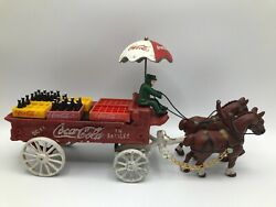 Price Products Coca Cola Cast Iron Bottle Delivery Wagon W/umbrella/bottles/case