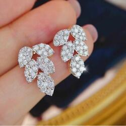 1.00ct Vintage Natural Round Si Diamond Stud Leaf Earrings 14k Solid White Gold