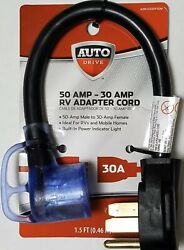 Auto Drive 50amp - 30amp Rv Mobile Home Adapter Cord Camping Electrical Cord New