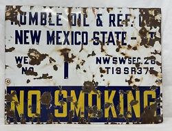 Vintage..porcelain..humble Oil And Ref. Co...oil Well Lease Sign Rare