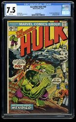 Incredible Hulk 1962 180 Cgc Vf- 7.5 White Pages 1st Cameo Wolverine
