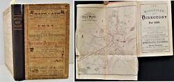1869 Antique Worcester Ma Directory W Foldout Map History Genealogy Ads Occ