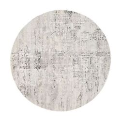 6'1x6'1 Undyed Natural Wool Modern Cut And Loop Pile Gray Round Rug R62903