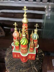 Vintage St. Basiland039s Cathedral Painted Carved Lacquered Wood Wooden. .6 Figurine