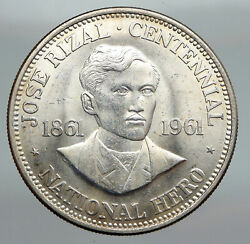 1961 Philippines With Jose Rizal Nationalist Antique Silver 1 Peso Coin I91614