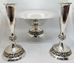 Mueck-carey Co Nyc Sterling Compote Pierced Folial And Floral Plinth Base