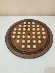 Vintage Solitaire Marble Game Set W/board