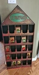 Paysan French Tin Seed Display 1940's/50's With Red Patina Pitched Roof 42x19x3