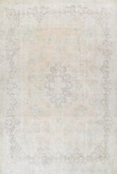 Antique Distressed Kirman Muted Area Rug Evenly Low Pile Hand-knotted Wool 10x13