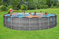 Coleman 22 Ft X 52 In Power Steel Swimming Pool Set W/ Pump, Cover, And Ladder