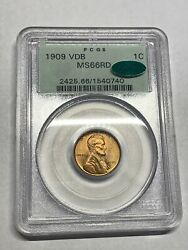 1909 Vdb Pcgs Ms66rd Cac Ogh Lincoln Wheat Cent Old Green Vintage Pq Upgrade