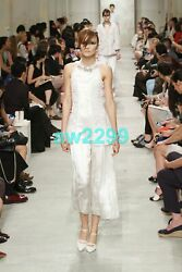 4950 2014 Embroidered Runway Pleated Ivory Maxi Dress Cc Logo 38 New