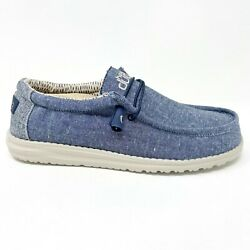 Hey Dude Wally Chambray Navy Mens Casual Lightweight Shoes 110062524