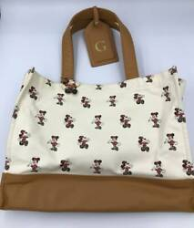 Tokyo Disneyland Hotel Limited Mickey Mouse Tote Bag Luggage Tag Camel