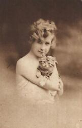 Vintage Tuckand039s Carbonette Of Beautiful Young Woman With Cute Kitten Postcard