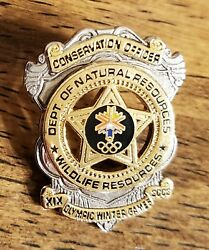 2002 Salt Lake City Olympic Dnr Conservation Officer Badge Pin/pins Rare 1 Of 4