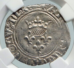1380ad France King Charles Vi Antique Silver Old Gros Medieval Coin Ngc I91608
