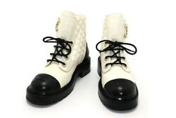Boots Ladies 37 Lambskin Calfskin Ivory Black 20a 432 Previously No.4973
