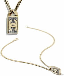 Necklace Rhinestone Square Tag Clear Cc Logo Gold Metal Crystal No.5706