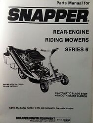 Snapper Ser 6 Rear Engine Riding Lawn Mower Rer Tractor Parts Catalog Manual