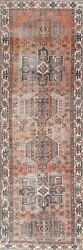 Antique Geometric Heriz Evenly Low Pile Handmade Runner Rug 2and039 11and039and039 X 10and039 9and039and039