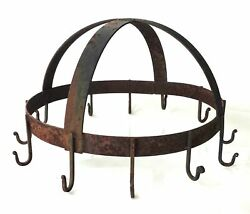 Antique Hanging Ceiling Hooks Iron Candelier Spices Pots Pans Taper Candle