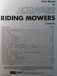Snapper 1978 Rer Rear Engine Riding Lawn Mower Tractor Parts Catalog Manual