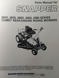 Snapper Comet 265x 2650 268x 308x Rear Engine Riding Mower Owner And Parts Manual