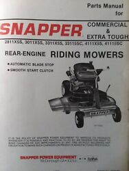 Snapper Ser 5 Rear Engine Riding Mower 2811x5s 3011x5s 3311x5s 4111 Parts Manual