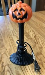 Halloween Pumpkin Plastic Blow Mold Electric Candle Window Light Lamp Wired