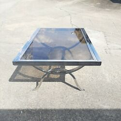 Vintage Dia Milo Baughman Style Extendable Chrome And Glass Dining Table