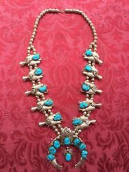 Ray Yazzie Native American Sterling Silver Turquoise Squash Blossom Necklace