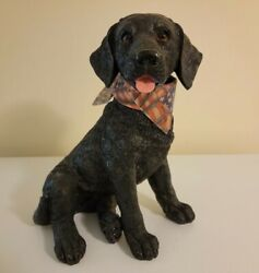 Vintage Black Lab Figurine Hand Painted Signed Collectible Statue 12