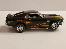 Black Flamed 70 Boss 429 Mustang, Ho Slot Car, , Chrome Wire Rims, And Tires