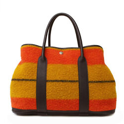 Authentic Hermes Garden Party 36 Pm Handbag Women And039s Wool Loval No.8004