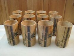 12 Vintage Bamboo Wooden Drinking Cups Tumblers Hand Painted Japan B4334