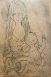 Small Religious Lithograph Of The Madonna Blessed Virgin Mother Mary Baby Jesus