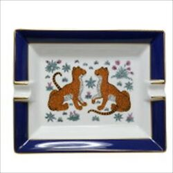 Hermes Authentic Leopard Pattern Ashtray Pottery White X Blue Tray Rare Vintage