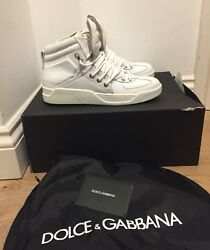 Dolce And Gabbana Raised Logo Hi Top Trainers - Off- White - Uk 7/eu 41 - Andpound595
