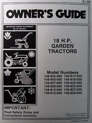 Mtd 18hp Garden Tractor Owner And Parts Manual 148-802 Thr 828 813 817 808 812 822