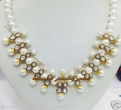 Vintage 4.87ct Antique Cut Diamond Pearl Studded Silver Wedding Necklace Jewelry
