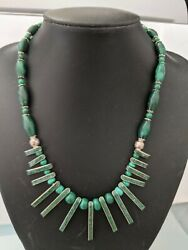 Vintage Mexican Silver/malachite Necklace With Matching Ring And Earrings