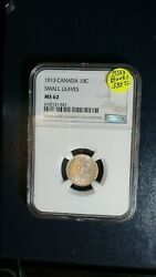 1913 Canada Ten Cents Ngc Ms62 Uncirculated 10c Silver Coin Buy It Now