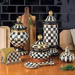 Mackenzie Childs Courtly Check Canisters- Set Of 3 New
