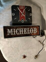 Vintage Michelob Light Lighted Beer Sign With Clock, Working